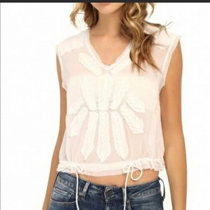 Free People white shear frayed edge crop top